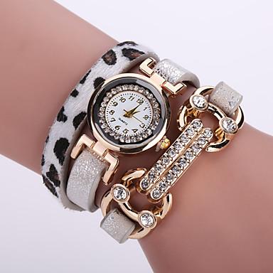 Damen Modeuhr Armband-Uhr Quartz Leder Band Blume Schwarz Weiß Blau Orange Braun Rosa