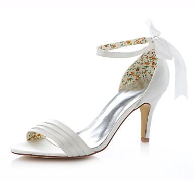 Damen Schuhe Stretch - Satin Sommer Stöckelabsatz Band-Bindung Elfenbein / Hochzeit / Party & Festivität