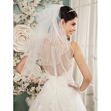 Quatro Camadas Borda Lápis Véus de Noiva Véu Ombro Com Franzido Tule