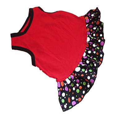 Cachorro Vestidos Roupas para Cães Poá Coração Preto / Vermelho Algodão Ocasiões Especiais Para animais de estimação Verão Mulheres