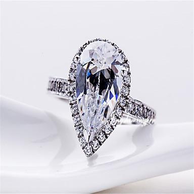 Anéis Jóias Prata de Lei / Pedaço de Platina Feminino Anéis Statement 1pç