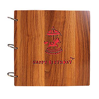 DIY 26 * 26 cm 12 Zoll Holz Abdeckung handgefertigt Sammelalbum Fotoalbum 30pcs schwarzes Papier für Familie / Baby / Geliebte / Geschenke