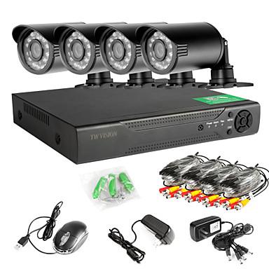 8-Kanal-960H-Netzwerk-DVR 4pcs 1000tvl ir im Freien CCTV-Überwachungskameras System