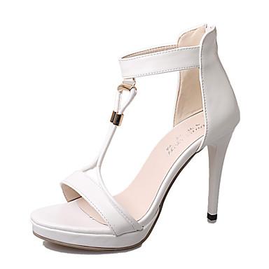 Damen Schuhe PU Sommer Stöckelabsatz Kristall Ausgehöhlt für Normal Party & Festivität Weiß Schwarz