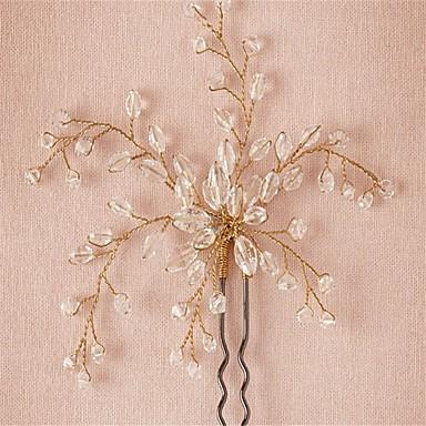 נשים נערת פרחים קריסטל סגסוגת כיסוי ראש-חתונה אירוע מיוחד סיכת שיער 2 חלקים