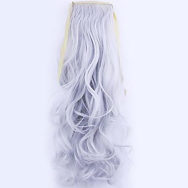 נתפס עם קליפס גלי מסולסל קוקו קשירה חתיכת שיער הַאֲרָכַת שֵׂעָר 20 inch כסף