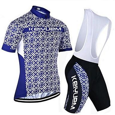 KEIYUEM Kurzarm Fahrradtrikot mit Trägerhosen - Schwarz Fahhrad Kleidungs-Sets, Rasche Trocknung, Atmungsaktiv, Schweißableitend,