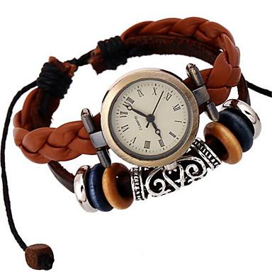 Damen Modeuhr Armband-Uhr digital Leder Band Böhmische Braun Braun
