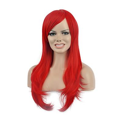 natürliche lange rote Farbe populäre synthetische Perücke für Frau