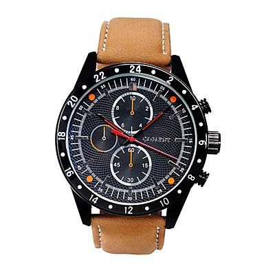 Herren Armbanduhr Quartz Armbanduhren für den Alltag Leder Band Braun Weiß Schwarz