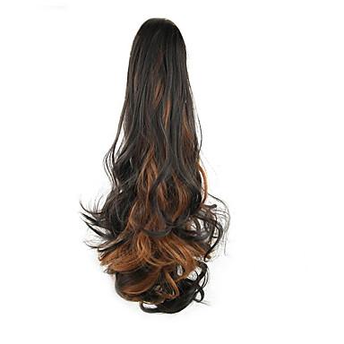 24 polegadas Preto / Medium Browm Com Presilha Ondulado Rabos-de-Cavalo Urso Claw / Jaw Clip Sintético Pedaço de cabelo Alongamento