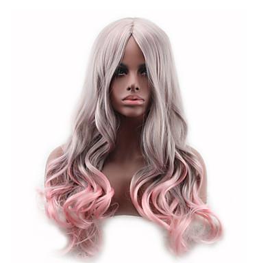 Synthetische Haare Perücken Wellen Kappenlos Lang Rosa