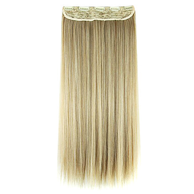Perücke schwarz und gold 60cm hohe Temperatur Draht Verlängerung glattes Haar Kunsthaar