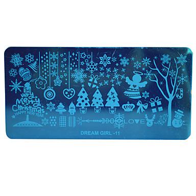 Weihnachten DIY Prägeplatten Nagelschablonen Schnee Blume Bild Schablonen für Nägel polieren Dekor Traummädchen-11