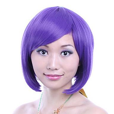 8 pouces cosplay femmes bobo courte ligne droite synthétique perruque de cheveux côté Bang violet avec connexion filet à cheveux