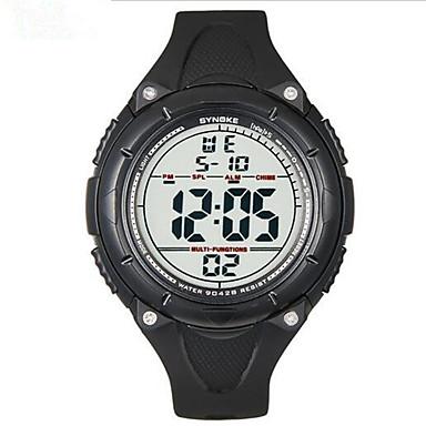 SYNOKE Homens Relógio Esportivo Relógio de Pulso Digital Alarme Calendário Cronógrafo Impermeável Luminoso LCD Borracha Banda Preta