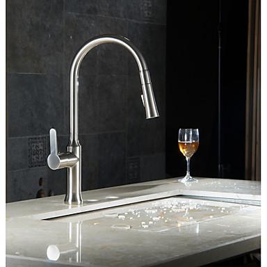 Moderne Becken Mit ausziehbarer Brause Keramisches Ventil Ein Loch Einhand Ein Loch Gebürsteter Nickel, Armatur für die Küche