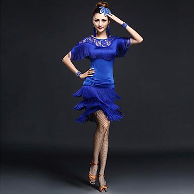 Latein-Tanz Austattungen Damen Leistung Nylon Chinlon Spitze Quaste Kurze Ärmel Hoch Top Rock