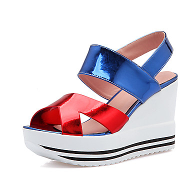 DamenBüro Kleid-Lackleder PU-Keilabsatz-Komfort Fersenriemen-Blau Rot Silber