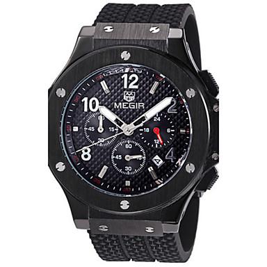 MEGIR Herren Kleideruhr Quartz Armbanduhren für den Alltag Silikon Band Luxuriös Schwarz Weiß Schwarz