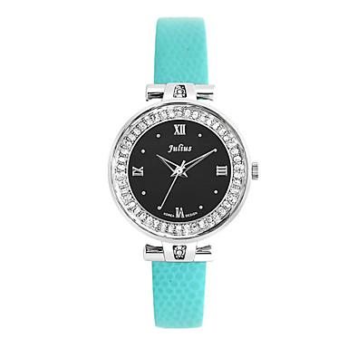 JULIUS Damen Kleideruhr Modeuhr Quartz Imitation Diamant Leder Band Blau Grün Lila Orange/Weiß Grün/Schwarz Weiß / blau Regenbogen