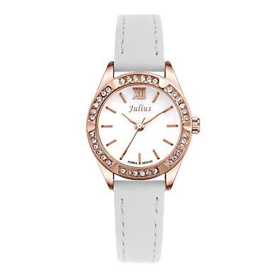 Damen Kleideruhr Modeuhr Quartz Wasserdicht Imitation Diamant Leder Band Schwarz Weiß Braun Gold Rosa Marke JULIUS
