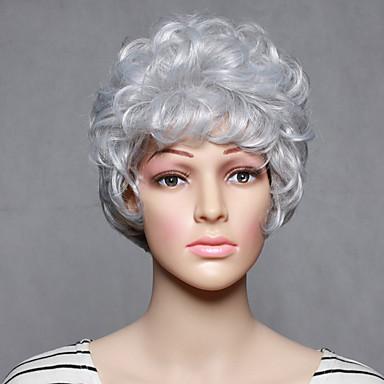 Mulher Perucas sintéticas Curto Ondulado Branco Peruca de Halloween Peruca de carnaval Peruca para Fantasia