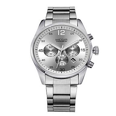 Herren Kleideruhr Quartz LED / Kalender / Armbanduhren für den Alltag Edelstahl Band Schwarz / Weiß Marke