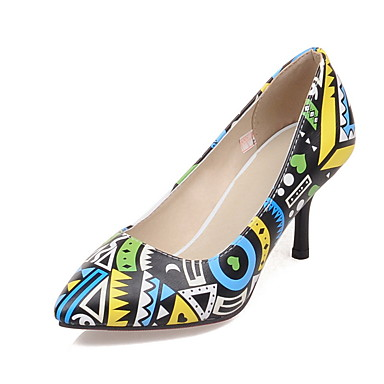 Mulheres Sapatos Pele Napa / Couro Envernizado Primavera / Verão Conforto / Inovador / Chanel Saltos Salto Agulha Amarelo / Vermelho / Casamento / Festas & Noite / Social / Festas & Noite