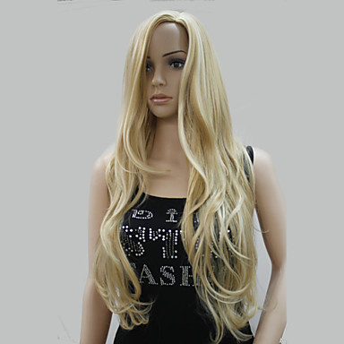 Synthetic Wig Wavy With Bangs Synthetic Hair Highlighted / Balayage Hair / Side Part Blonde Wig Women's Long Halloween Wig / Carnival Wig