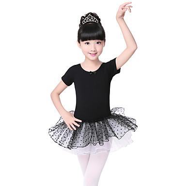 Ballett Kjoler Barne Yteevne Bomull Spandex Niveauer 1 Deler Kort Erme Kjole