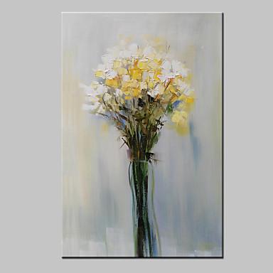 Hang malte oljemaleri Håndmalte - Blomstret / Botanisk Moderne Med Ramme / Stretched Canvas