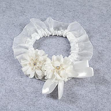 Spitze Stretch - Satin Hochzeitsstrumpfband - Blume