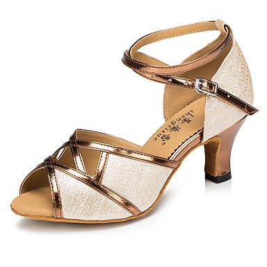 Damen Schuhe für den lateinamerikanischen Tanz Glitzer / Kunstleder Sandalen / Absätze Schnalle / Blume Maßgefertigter Absatz Maßfertigung Tanzschuhe Braun / Innen