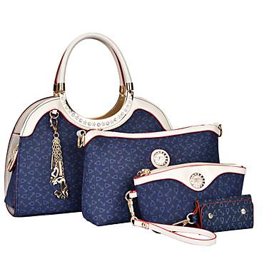 Damen Taschen PU Bag Set 4 Stück Geldbörse Set Braun / Blau / Rosa