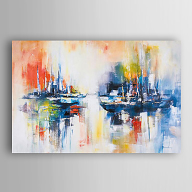 nave a mano abstracto pintura al óleo pintada paisaje en el mar con el marco estirado Arts® 7 de pared
