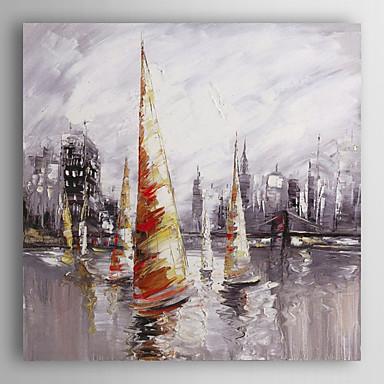 pintados à mão nave paisagem pintura a óleo perto do porto ii, com quadro esticado arts® 7 parede