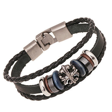 Herrn Damen Strang-Armbänder Lederarmbänder Leder Aleación Schwarz Schmuck Für Hochzeit Party Alltag Normal Sport 1 Stück