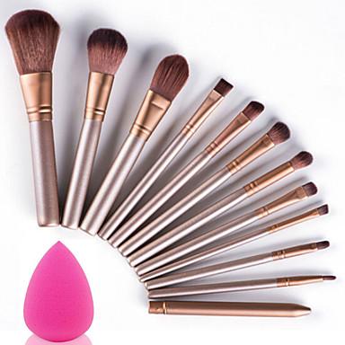 12pcs Pinceles de maquillaje Profesional Set de Pinceles de Maquillaje Portátil / Viaje / Ecológica Madera
