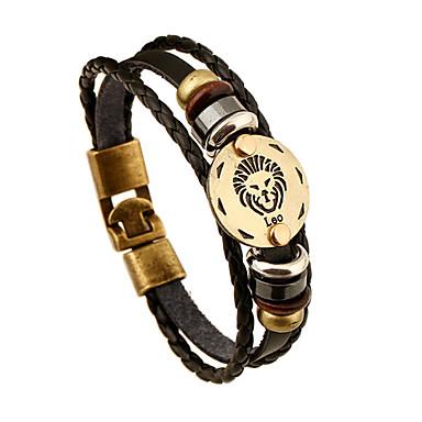 Herrn Damen Strang-Armbänder Lederarmbänder Leder Aleación Tierform Löwe Schwarz Schmuck Für Hochzeit Party Alltag Normal Sport 1 Stück