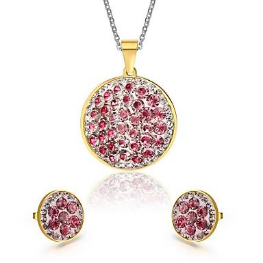 Ékszer készlet utánzat Diamond Divat Európai Rozsdamentes acél Hamis gyémánt Round Shape Rózsa Nyakláncok Naušnice MertParti Napi
