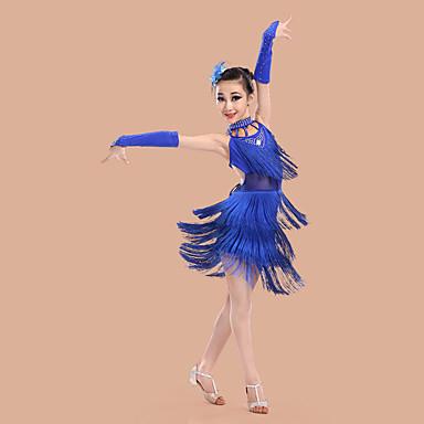 Latein-Tanz Kleider Kinder Leistung Polyester Elasthan Quaste Ärmellos Hoch Kleid Handschuhe Neckwear Kopfbedeckung