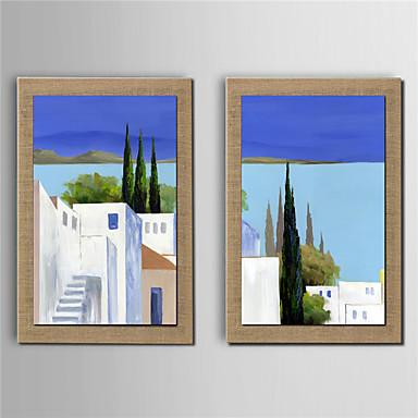 Håndmalte Abstrakte Landskap Lodrett, Moderne Lerret Hang malte oljemaleri Hjem Dekor To Paneler