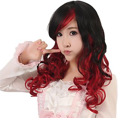 a nők hosszú test hullám szintetikus haj paróka cosplay fekete keverék piros hőálló