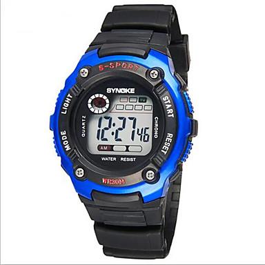 SYNOKE Kinder Sportuhr Armbanduhr digital Alarm Kalender Chronograph Wasserdicht LCD leuchtend Caucho Band Schwarz