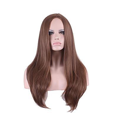 Synthetische Perücken Glatt Synthetische Haare Perücke Damen Mittlerer Länge Kappenlos Schwarz