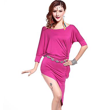 Dança do Ventre Roupa Mulheres Treino Modal Pano-Lateral 3 Peças Luva de comprimento de 3/4 Natural Shorts / Saia / Top 91cm