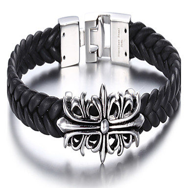 kalen®bracelet Lederarmband Kreuz täglich / casual Schmuck Geschenk schwarz, 1pc