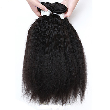 4Pcs/Lot Peruvian Virgin Hair Kinky Straight Hair Natural Black Color Unprocessed Human Hair Weave Bundles