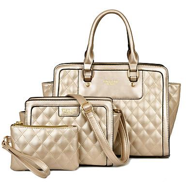Mulher Bolsas Todas as Estações Couro Ecológico Tote com para Compras Casual Formal Dourado Branco Preto Azul